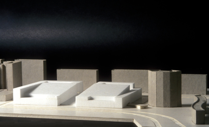 Massing model of urban design proposal.
