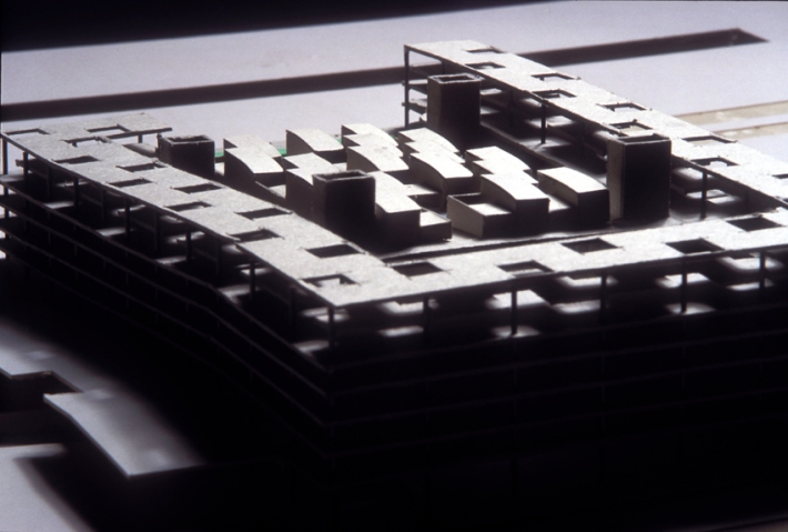 """Architectural model showing roof-top patio houses. """"A penthouse for Everyone""""!"""