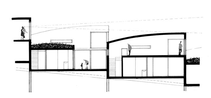 Section through roof-top patio houses.