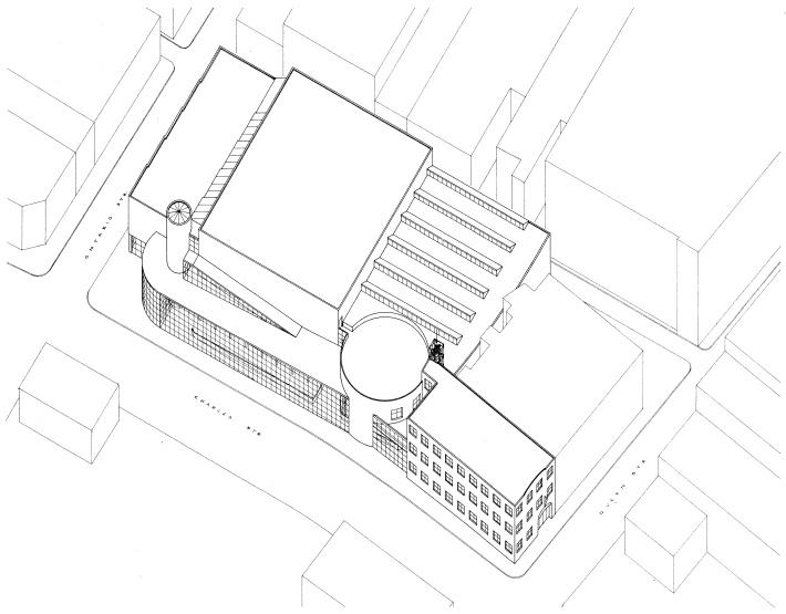 Axonometric drawing of YMCA urban infill proposal for Kitchener, Ontario (1986).