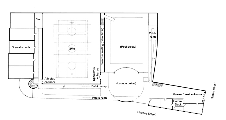 Plan Level 2. Gym, Squash courts, Queen Street entrance to offices and social services.