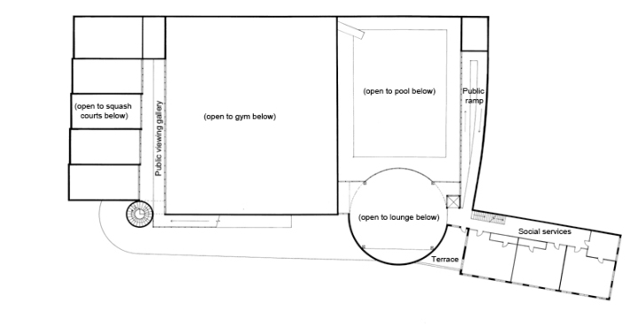 Plan level +2. Public viewing gallery, social services.