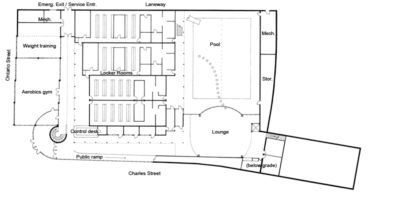Plan of Level 0. Public entrance to sport facility at corner Charles and Ontario streets, member access to changing rooms, public ramp running parallel to Charles Street connects with office and social services entrance at Queen Street.
